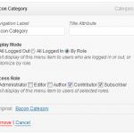 captura de la configuración del plugin nav menu roles