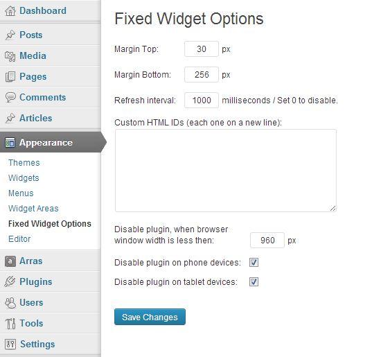 opciones de widgets fijos wordpress
