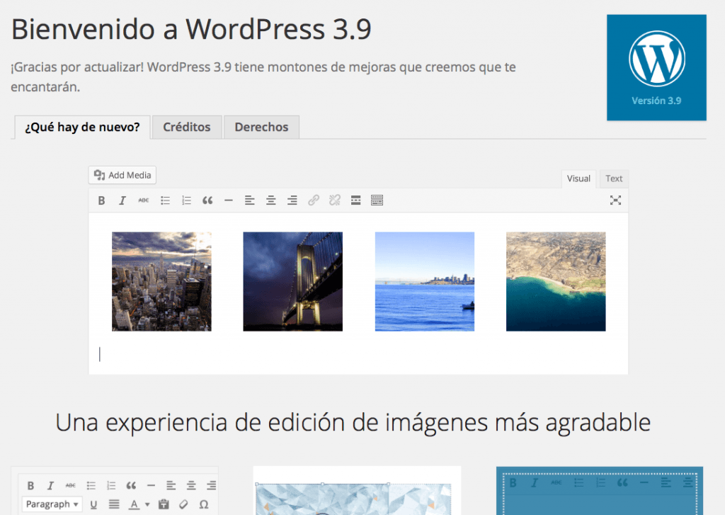bienvenido wordpress 3.9
