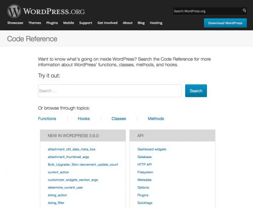 buscador de referencias de código de wordpress.org
