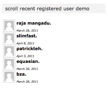 recent registered users widget scroll