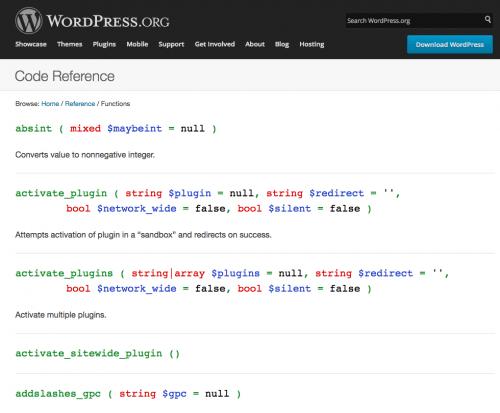 referencia de código de funciones en WordPress.org