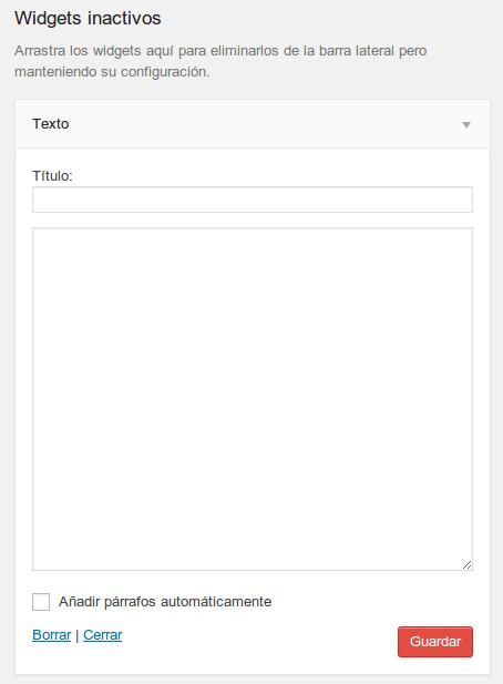 Widgets inactivos WordPress