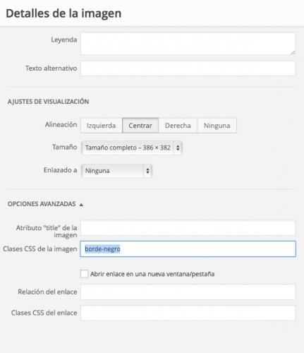 añadir clase css imagen wordpress 3.9