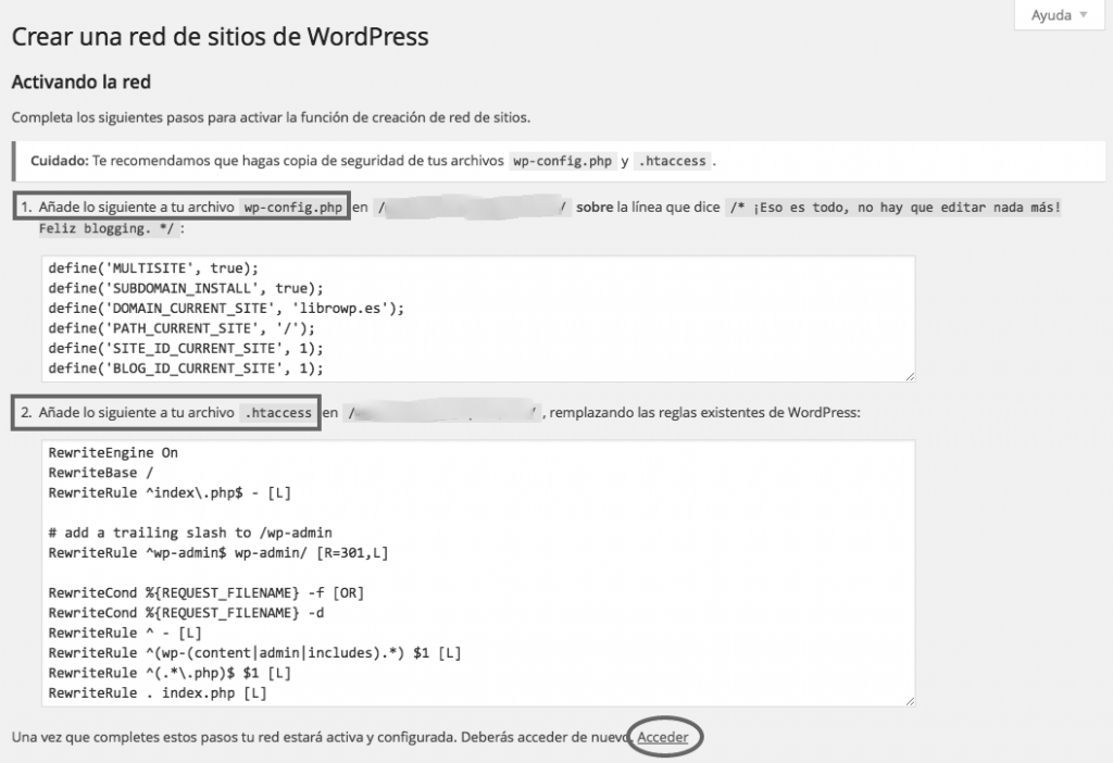 codigos activar wordpress multisitio