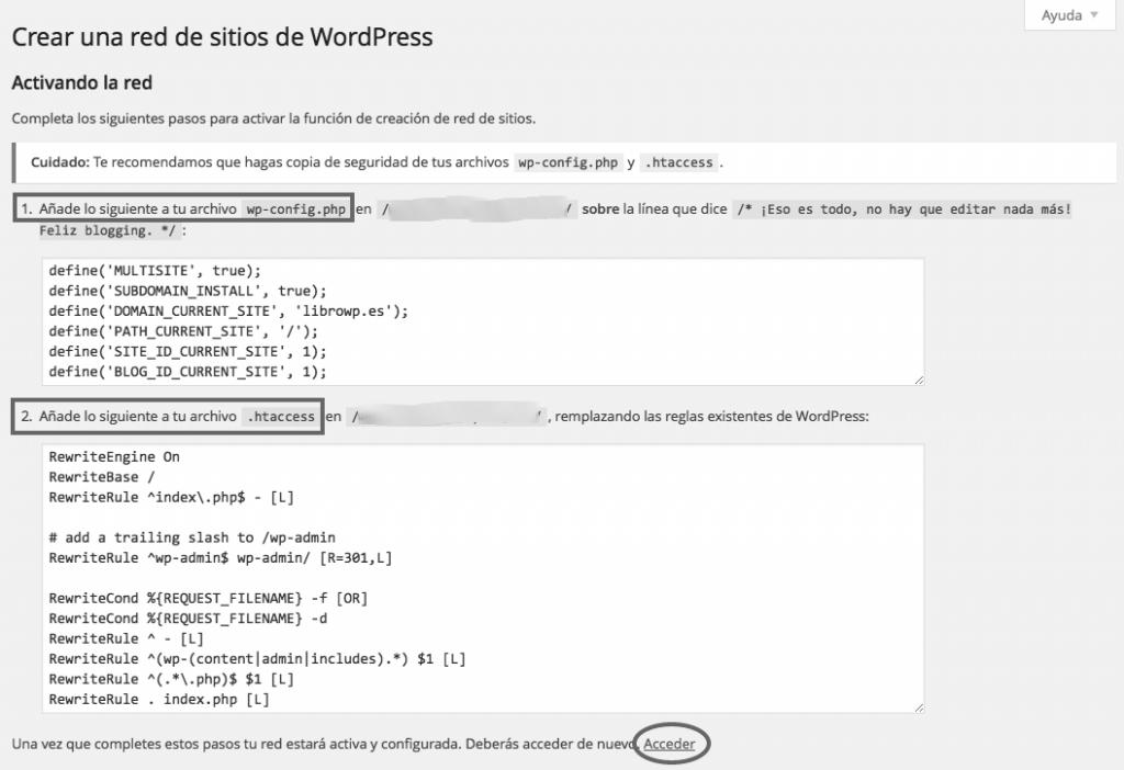 codigos activar wordpress multisitio