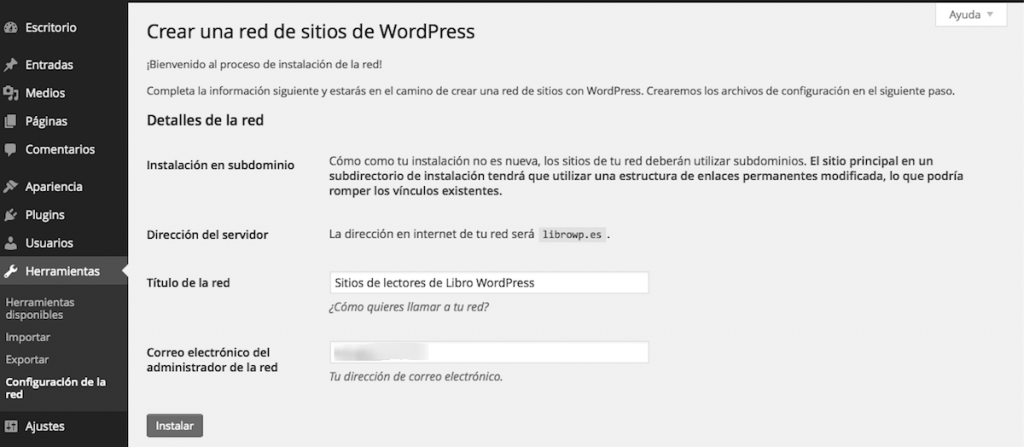 crear red multisitio wordpress