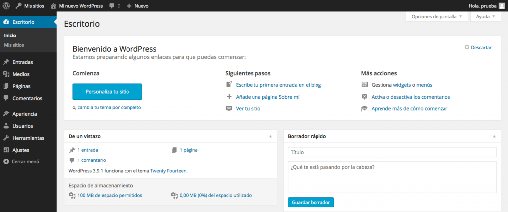 nuevo sitio red wordpress multisitio