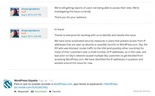 wordpress españa twitter aviso ips bloqueadas