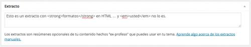 extracto personalizado con formato y html wordpress