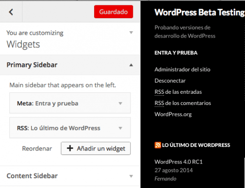 personalizador widgets wordpress 4.0
