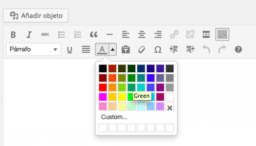 selector colores texto editor wordpress 4.0