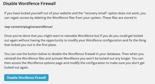desactivar firewall wordfence