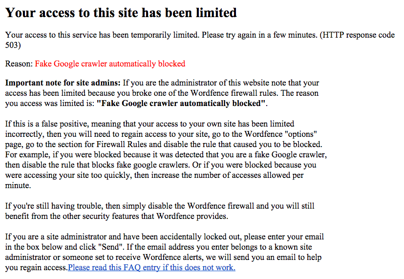 error acceso wordpress wordfence