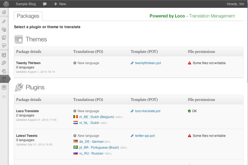 paquetes disponibles loco translate wordpress