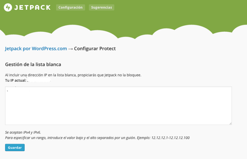 ajustes protect jetpack wordpress