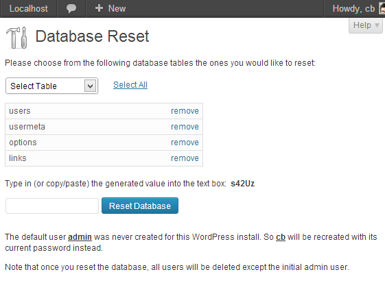 wordpress database reset plugin