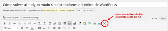 icono para activar editor sin distracciones pre wordpress 4.1