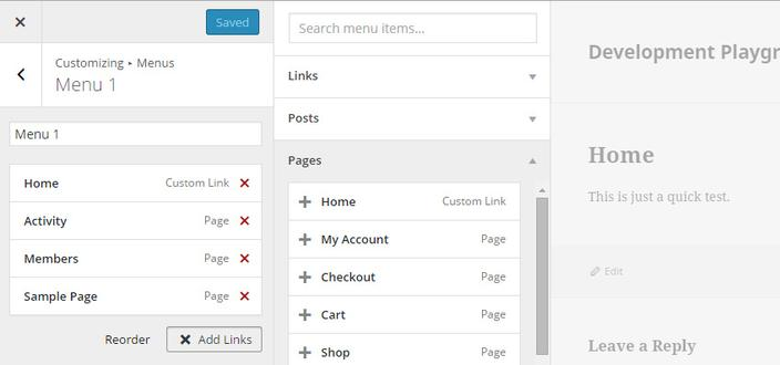 personalizador menus wordpress 4.3