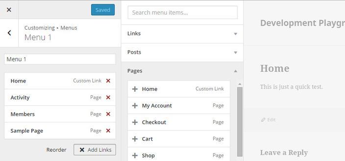 personalizador menus wordpress 4.3