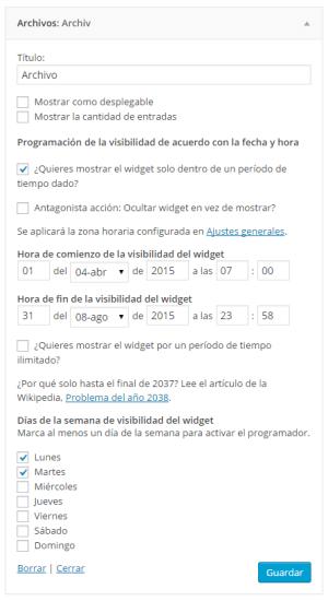 programar caducidad widgets