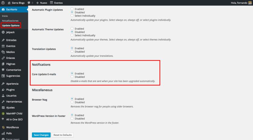 desactivar email actualizaciones wordpress