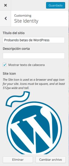 identidad del sitio en personalizador wordpress 4.3