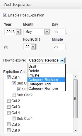 post expirator ajustes editor