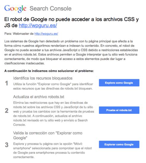 robot de google no accede css js
