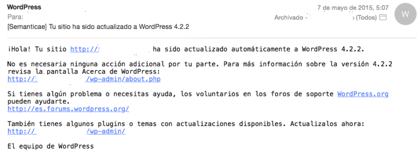 tu sitio wordpress se ha actualizado