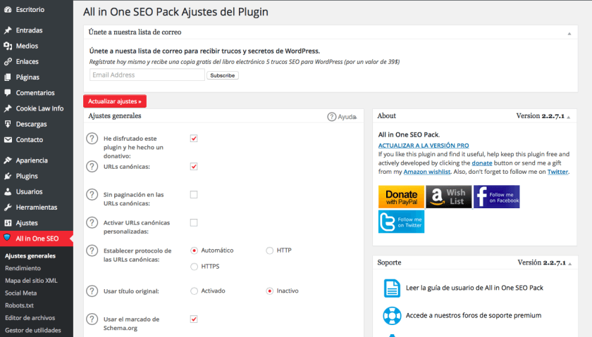 all in one seo pack español