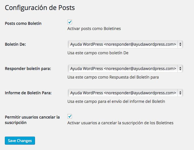 configuración posts mailrelay
