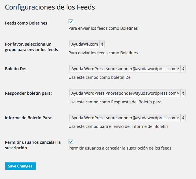 configuracion feed mailrelay