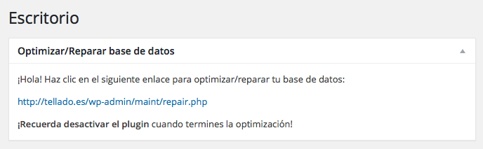 enlace escritorio reparar base datos wordpress