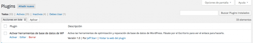 plugin reparar base datos wordpress