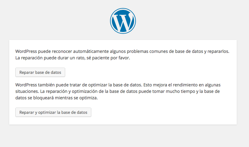 reparar base datos wordpress