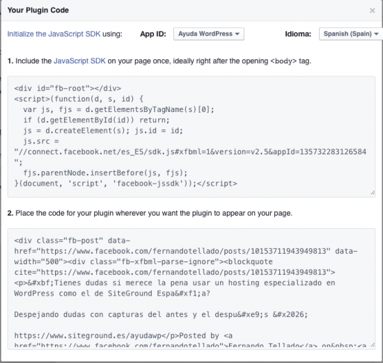codigos developer posts facebook en wordpress