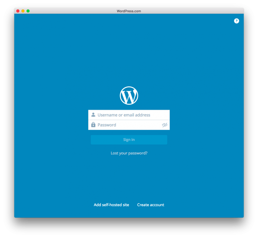 login WordPress.com en mac