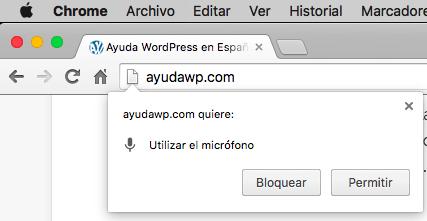 busqueda voz WordPress permiso acceso microfono