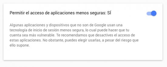 permitir uso aplicaciones menos seguras Gmail