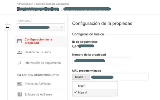 cambiar http https en google analytics