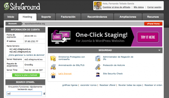 certificado ssl gratis siteground cpanel