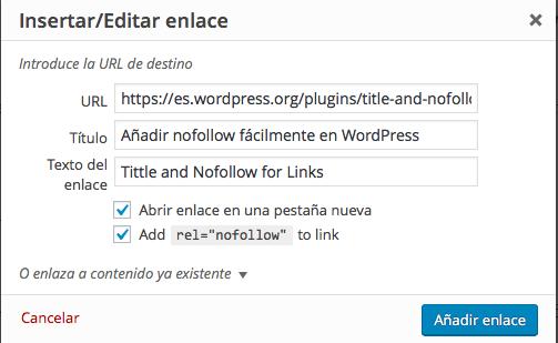 añadir nofollow facilmente en wordpress