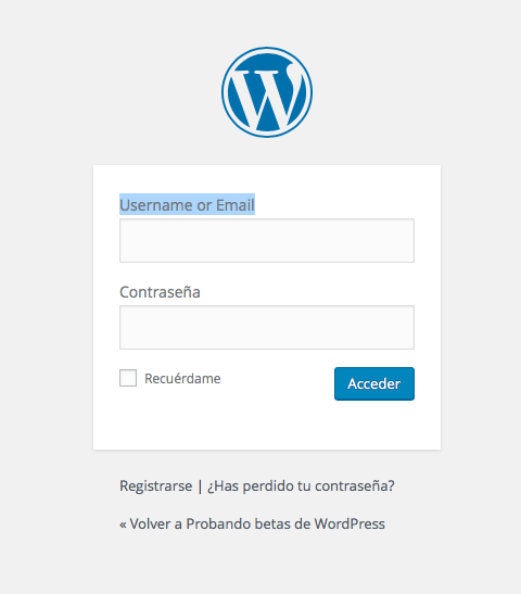 acceso WordPress 4.5 con usuario o email