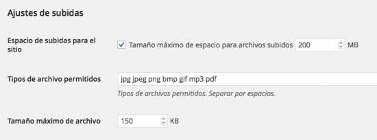 ajustes archivos red multisitio wordpress