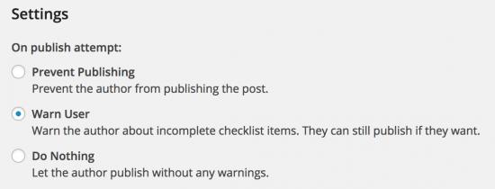 ajustes de publicación lista de comprobación