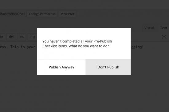 aviso de lista de comprobación antes de publicar