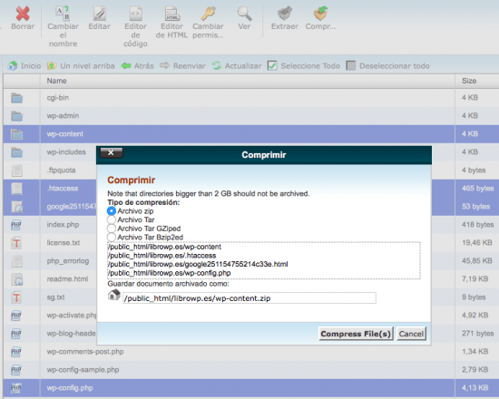 comprimir archivos wordpress cpanel