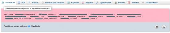 confirmacion eliminar tablas base de datos nueva