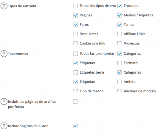 elementos a incluir en sitemap xml wordpress